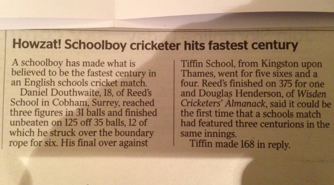 Fastest Ever Schools Ton by Stoker?