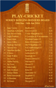 James Miller Honours Board 25th June 2016