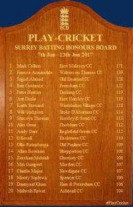 Surrey Honours Board Batting 10 06 2017