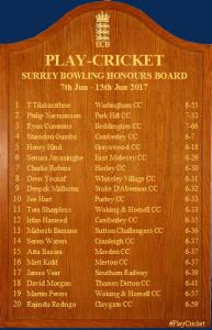 Surrey Honours Board Bowling 10 06 2017