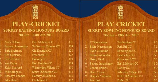 Will Gudgeon and Deepak Malhotra Surrey Honours Board Batting 10 06 2017