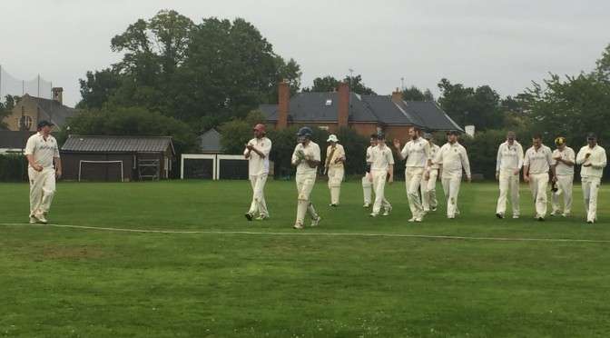 Sunday XI win at Oxshott. Paddy Wilson 5 for 23