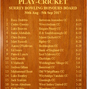 Shawn on the Surrey Honours Board