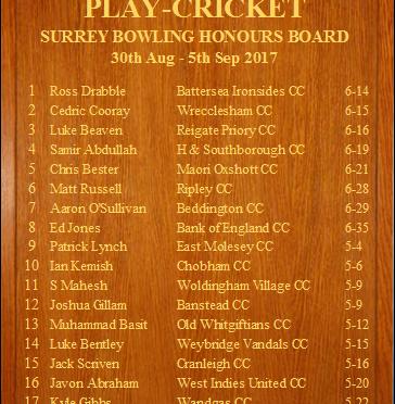 Surrey Honours Board Bowling 09 09 2017
