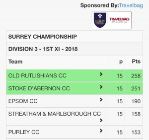 Division 3 1st XI Table 11 08 2018