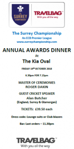 Surrey Championship Dinner Flyer October 2018