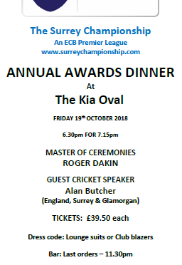 Surrey Championship Dinner – 19th October 2018